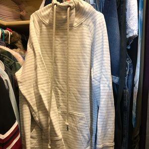 Cowl neck drawstring striped beach sweatshirt